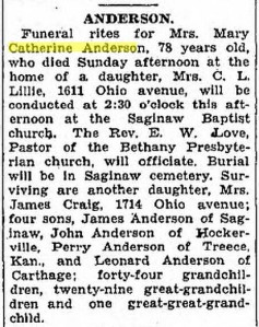 ANDERSON Mary Catherine obit Joplin Globe 9 Oct 1928 p2