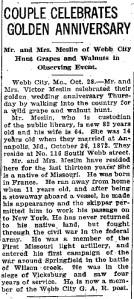 MESLIN Victor & Louise Golden Anniversary Joplin Globe 29 Oct 1932