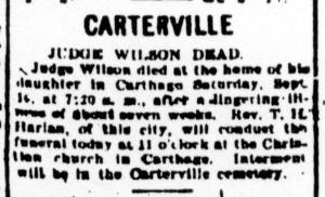 Wilson J H obit Joplin News Herald 17 Sep 1905 crop